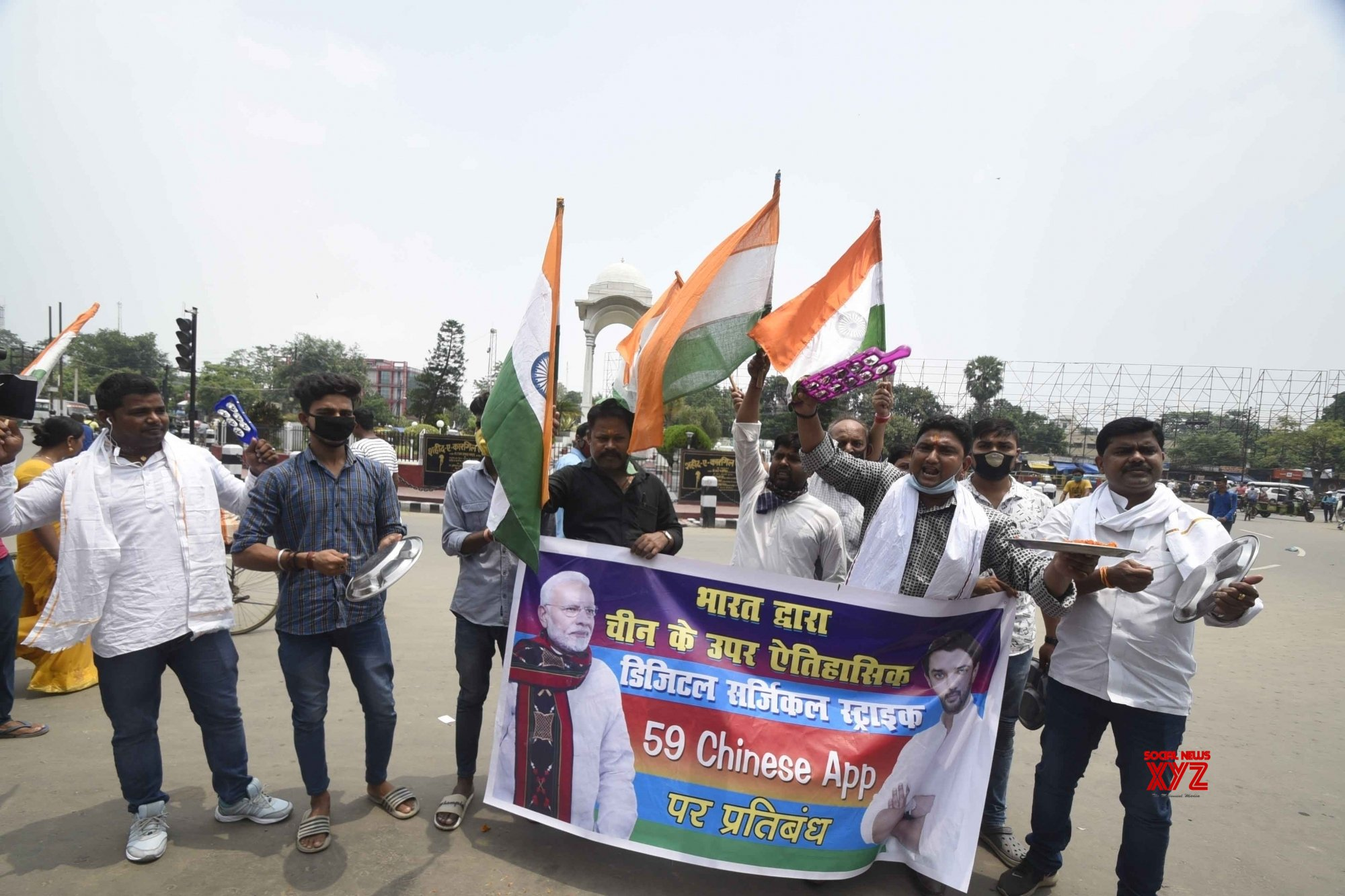 Patna: LJP celebrates Govt's decision to ban 59 Chinese apps over national security concerns #Gallery
