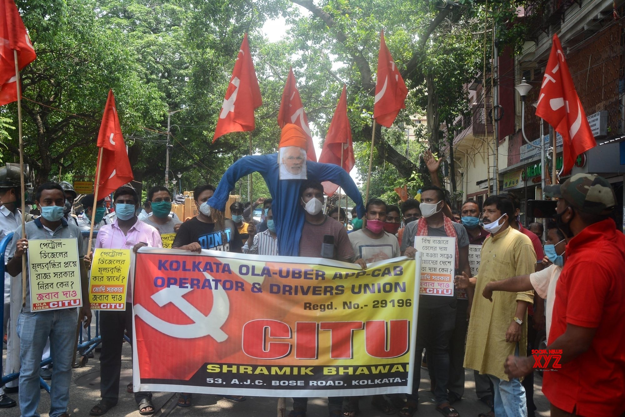 Kolkata: Ola - Uber App - Cab Operator and Drivers Union protest over fuel price hike #Gallery