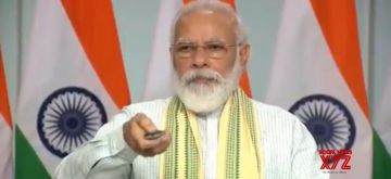 New Delhi: Prime Minister Narendra Modi dedicates to the nation a 750-MW solar project - said to be Asia's biggest -- at Rewa in Madhya Pradesh through video conferencing from New Delhi on July 10, 2020. (Photo: IANS/PIB)