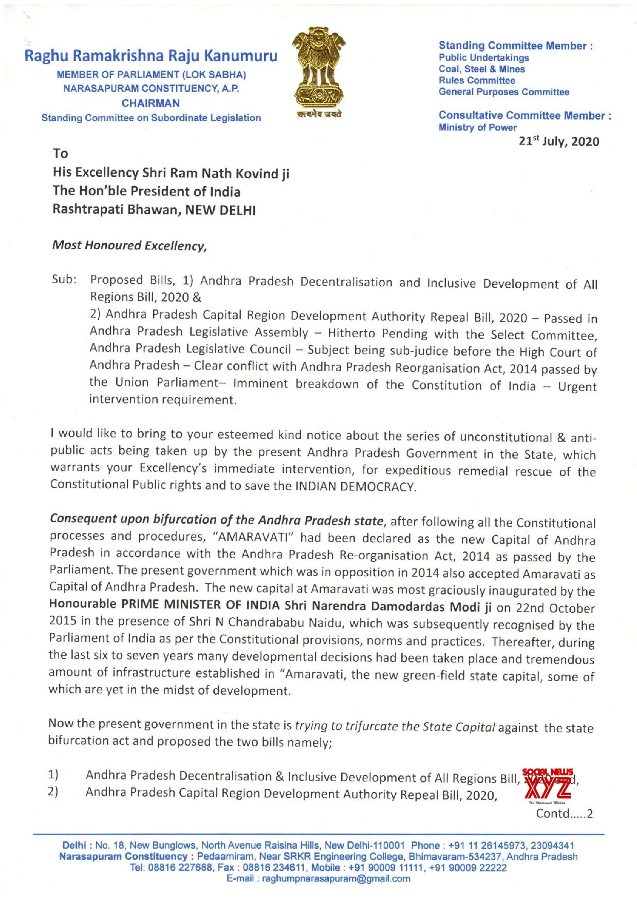 YSRCP MP K Raghu Rama Krishna Raju Memorandum To President Of India On Amaravati Capital Issue