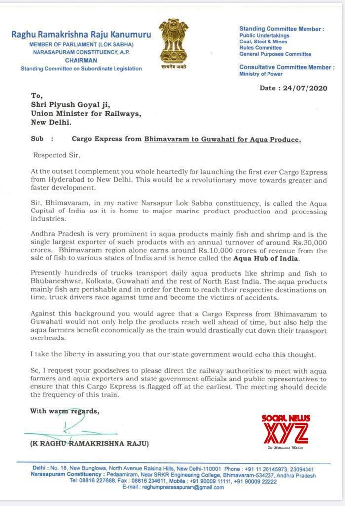 YSRCP MP K Raghu Rama Krishna Raju Letter To Railway Minister Piyush Goyal Requesting Cargo Express Train From Bhimavaram To Guwahati For Aqua Produce
