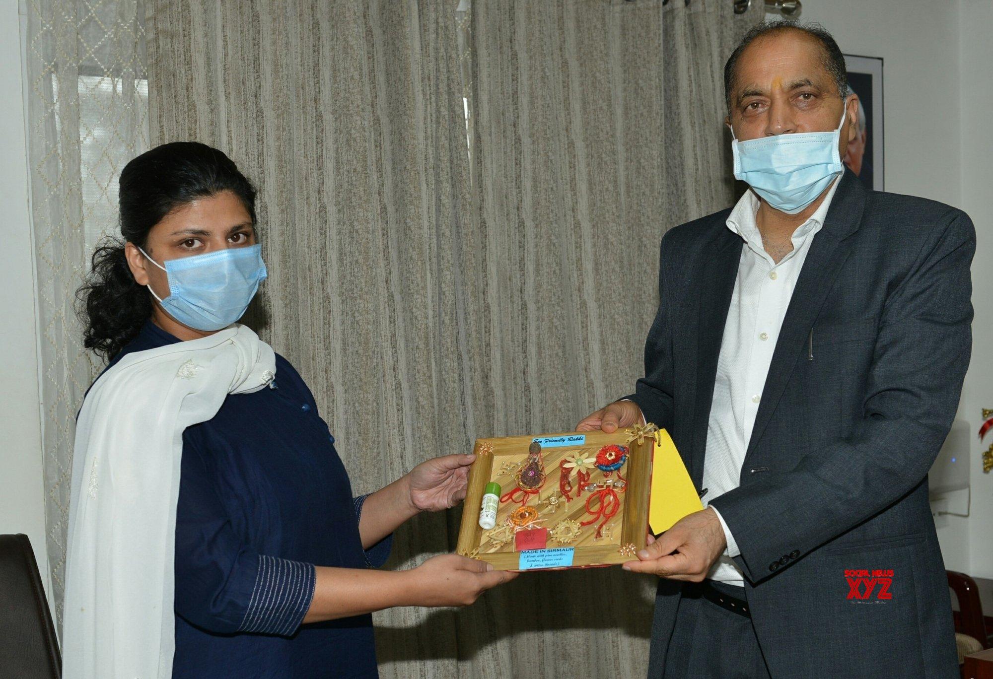 Shimla: Himachal CM presented with eco friendly Rakhi by ASHA Self Help Group of Sirmaur #Gallery