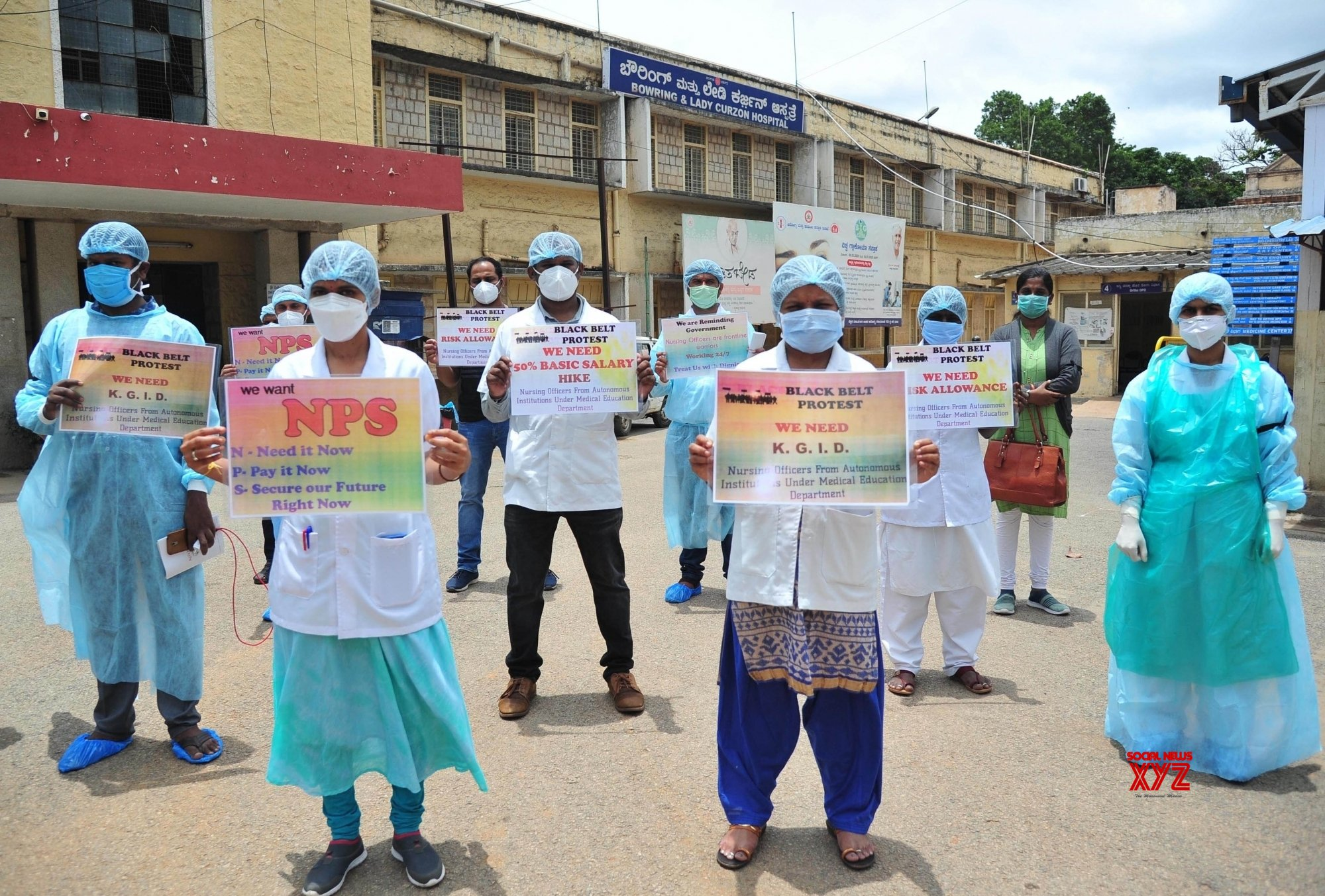 Bengaluru: Bowring and Lady Curzon Hospital staff protests over their demands #Gallery