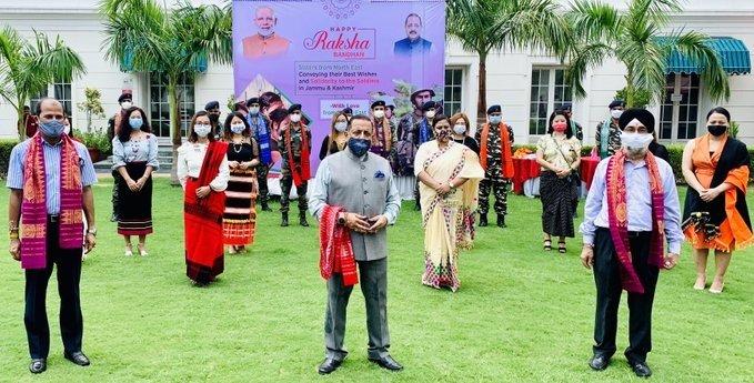 New Delhi: Sisters from Northeast tie Rakhi on Jawans deployed in J&K and Ladakh on Raksha Bandhan eve #Gallery
