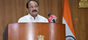 New Delhi: Vice President M. Venkaiah Naidu addresses the Platinum Jubilee meet of Dr. B.R. Ambedkar College of Law, Andhra University on the occasion of its 76th Foundation Day, through video conferencing, in New Delhi on Aug 4, 2020. (Photo: IANS/PIB)