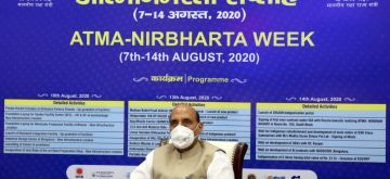 New Delhi: Defence Minister Rajnath Singh launches the modernisation/up-gradation of facilities and new infrastructure creation of Defence Public Sector Undertakings & Ordnance Factory Board as part of 'Atmanirbharta Week' celebrations, in New Delhi on Aug 10, 2020. (Photo: IANS/PIB)
