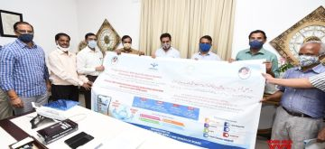 Hyderabad: Telangana Municipal Administration and Urban Development Minister KT Rama Rao at the launch of the One Time Settlement (OTS) scheme offered by the State government, in Hyderabad on Aug 11, 2020. Rao appealed to the water board consumers to make use of the scheme to clear their long-pending bills. Later, the Minister released posters and banners to create awareness among consumers on OTS scheme. (Photo: IANS)