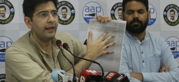 New Delhi: AAP leader Raghav Chaddha addresses a press conference in New Delhi on Sep 11, 2020. (Photo: IANS)