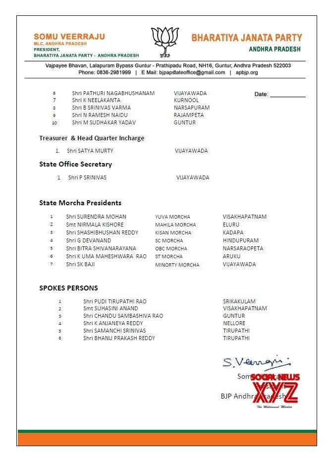 BJP Andhra Pradesh State Office Bearers List