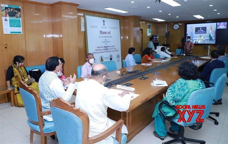 New Delhi: Rajnath Singh, Ramesh Pokhriyal Nishank & Kiren Rijiju at National Webinar on Creating Awareness about NEP 2020 #Gallery