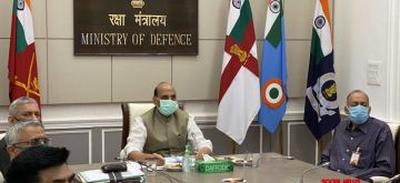New Delhi: Defence Minister Rajnath Singh attends the foundation stone laying ceremony of underpasses at Indian Military Academy (IMA), Dehradun via video conferencing in New Delhi on Sep 28, 2020. (Photo: IANS)