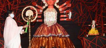Kolkata: West Bengal Chief Minister Mamata Banerjee inaugurates the community Durga Puja in Kolkata on Oct 15, 2020. (Photo: Kuntal Chakrabarty/IANS)