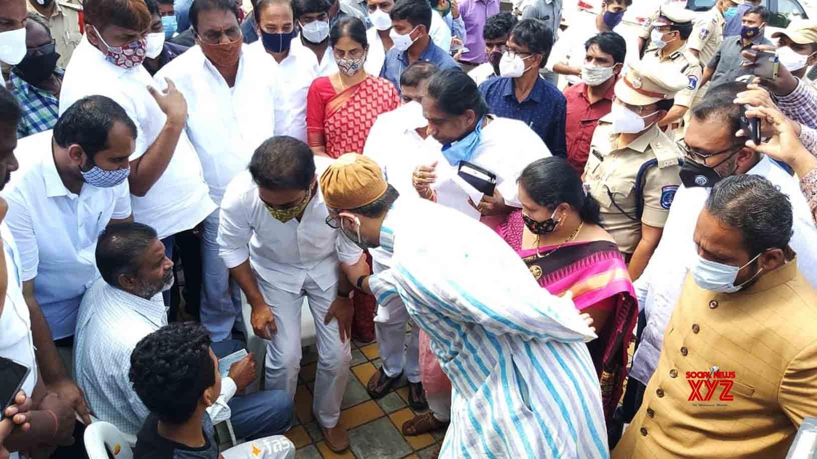 Hyderabad: KT Rama Rao, Asaduddin Owaisi visit flood - affected areas of Hyderabad #Gallery