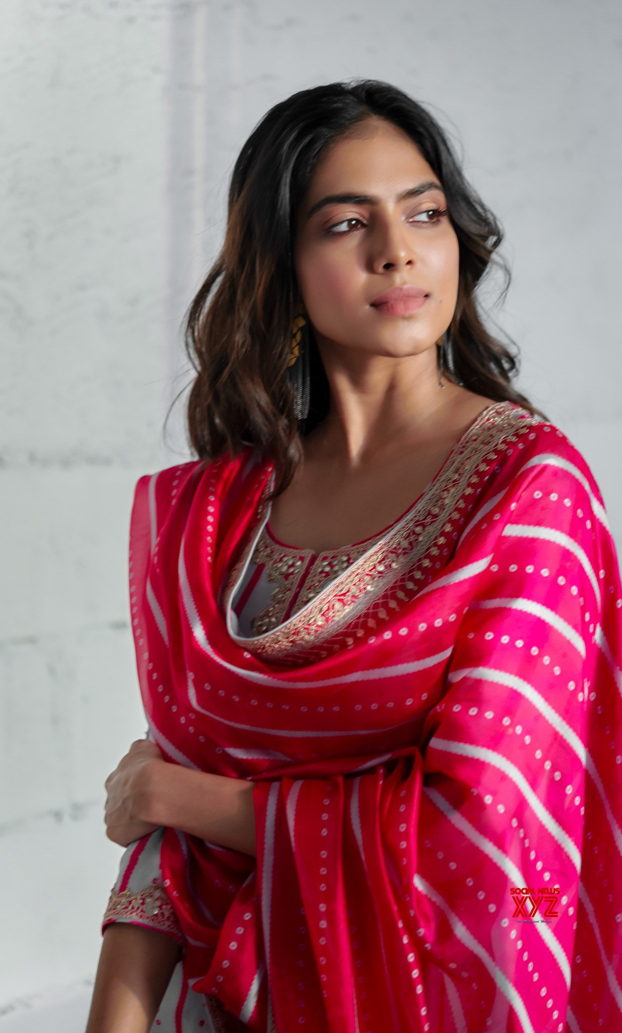 Actress Malavika Mohanan Stills As She Celebrates Navratri Today At Her House In Mumbai