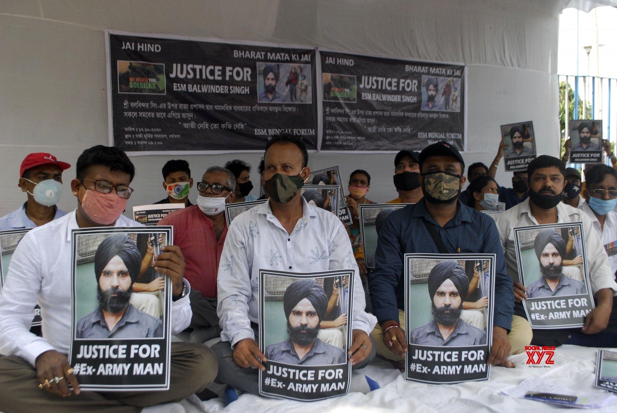Kolkata: Ex - servicemen protest demanding the immediate release of Balwinder Singh #Gallery