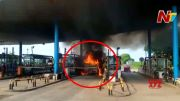 NTV:  Lorry Catches Fire in Toll Plaza (Video)