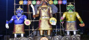 Kolkata: Effigies of Ravana, Meghnad and Kumbhkaran during Dussehra celebrations, in Kolkata on Oct 26, 2020. (Photo: Kuntal Chakrabarty/IANS)