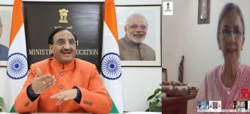 New Delhi: Union Education Minister Ramesh Pokhriyal 'Nishank' virtually addresses at the launch of the 'Lilavati Awards -2020' on the theme of 'Women Empowerment', in New Delhi on Nov 17, 2020. (Photo: IANS/PIB)