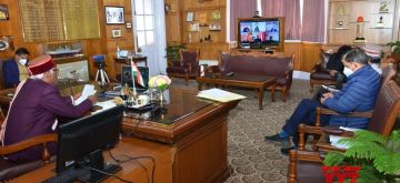 Shimla: Himachal Pradesh Governor Bandaru Dattatreya interacts with Vice-Chancellors on National Education Policy (NEP) and its implementation through video-conferencing from Raj Bhavan in Shimla on Dec 23, 2020. (Photo: IANS)