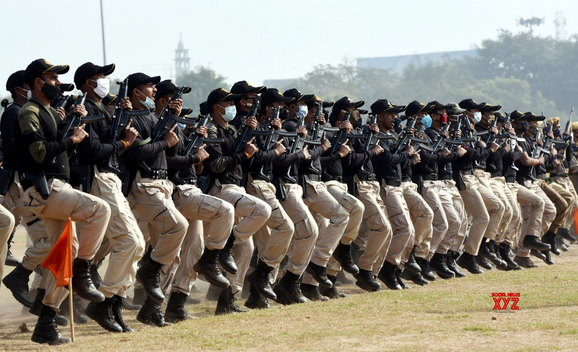 Patna: - A contingent of National Security Guard (NSG)s during the Republic Day parade rehearsals at Gandhi Maidan #Gallery