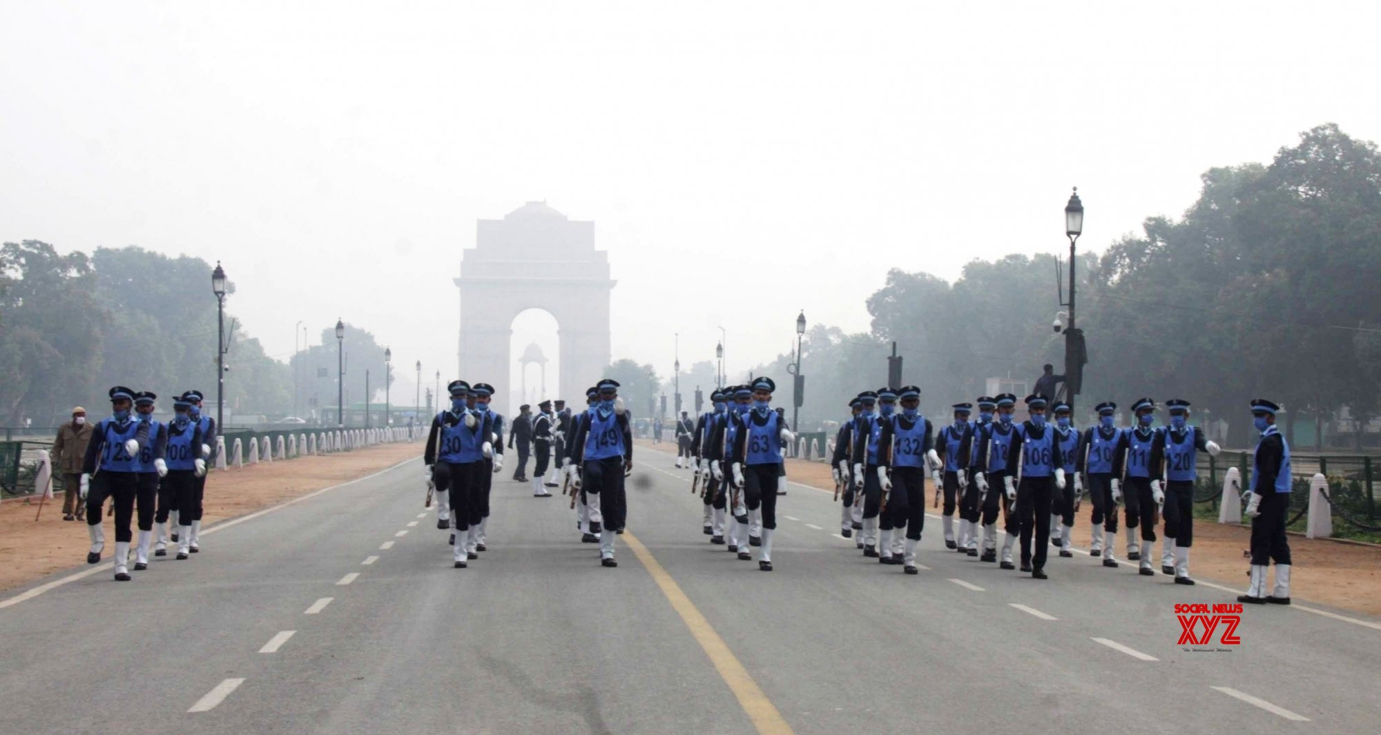 New Delhi: Air force personnel parade rehearsal for upcoming Republic Day celebration, at Rajpath #Gallery