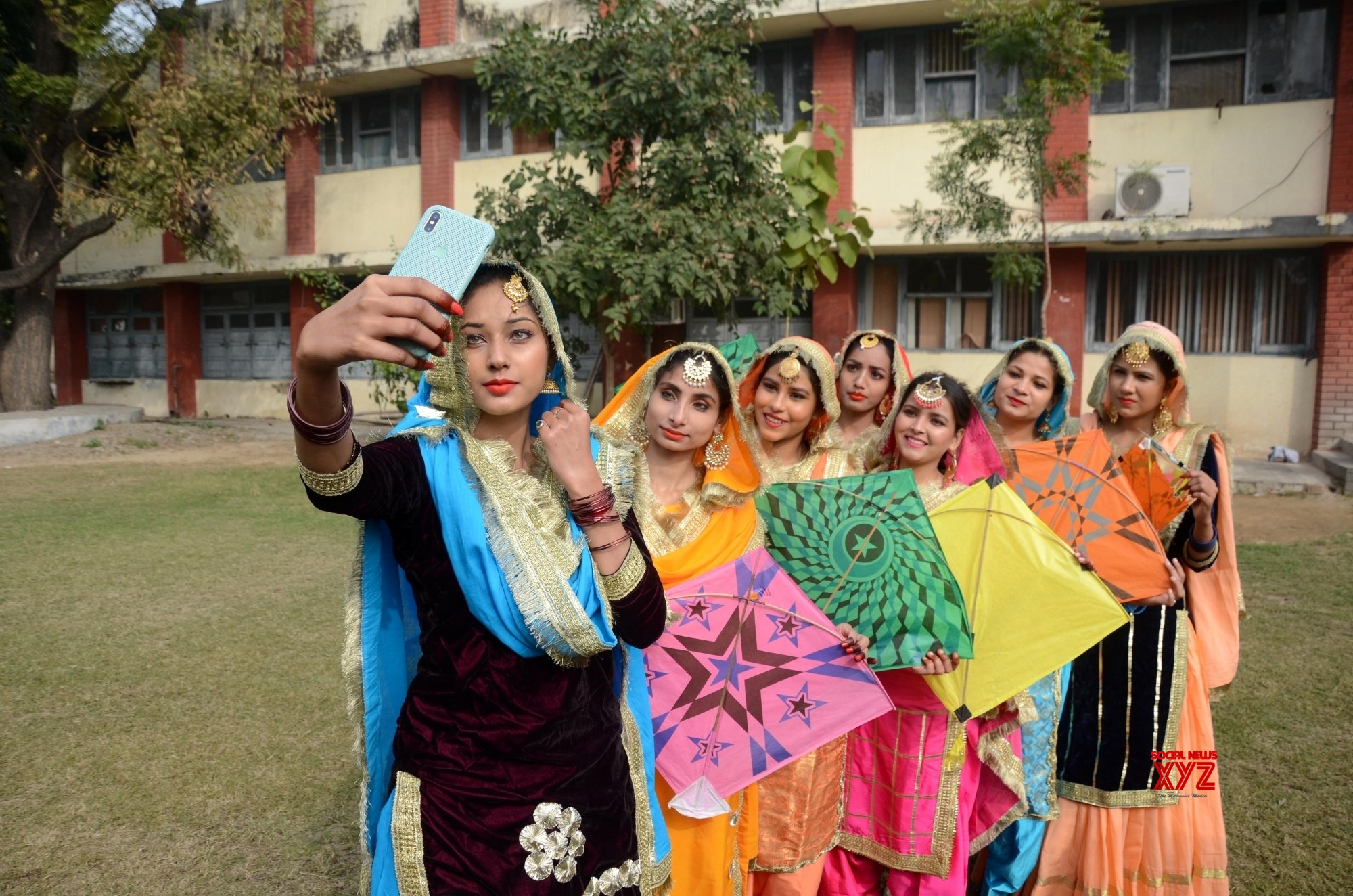 Amritsar: Students - wearing traditional Punjabi attire, perform 'Gidha' during an event to celebrate Lohri #Gallery