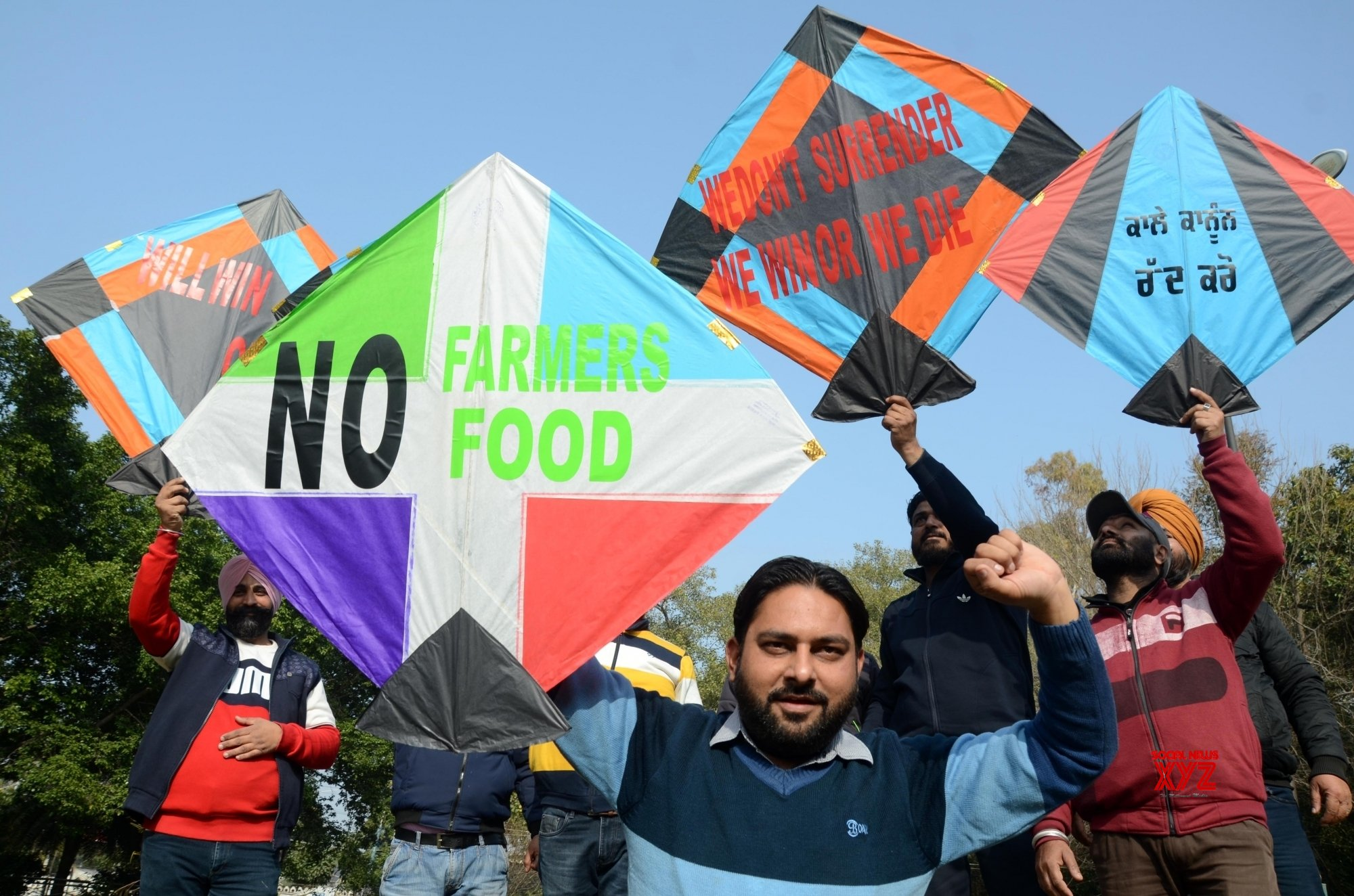 Amritsar: Protesters use kites as placards during a demonstration in support of farmers #Gallery