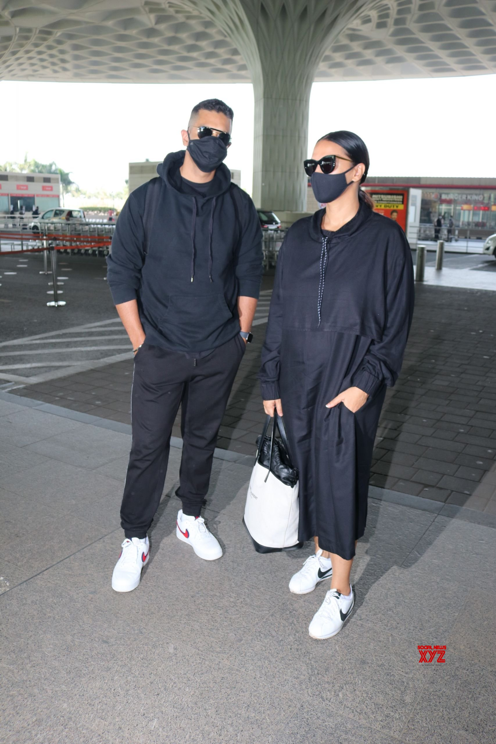 Neha Dhupia And Husband Angad Bedi Spotted At Airport Departure HD Gallery