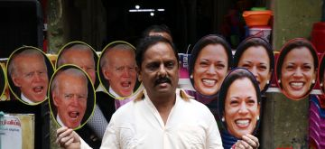 Chennai: Pictures of Joe Biden and Kamala Harris, The President and Vice President of the USA displayed in chennai. Anand Kumar Bhowmick who  displays the pictures is proud of Kamala Harris belonging to Indian origin and becoming Vice President of the USA (Photo: R Parthibhan/IANS)
