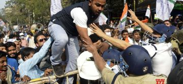 Kolkata: Police detains National Students Union of India activists during their protest and march to the State Assembly in Kolkata on Jan 27, 2021  (Photo:  Kuntal Chakrabarty/IANS)