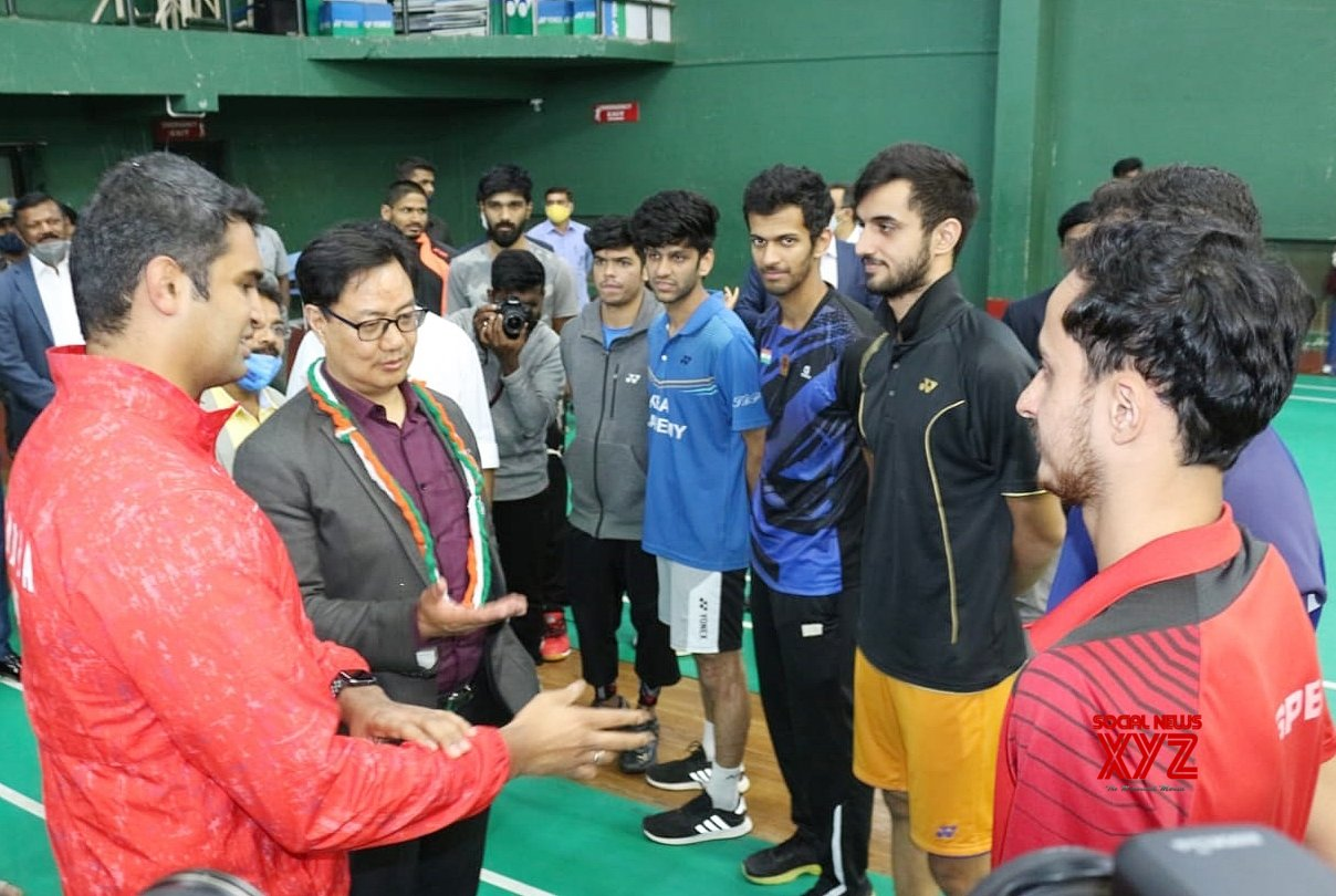 Bengaluru: Kiren Rijiju, Minister of State (I/C) Youth Affairs and Sports interacting with badminton players during inauguration of Khelo India Badminton Centre at SAI (Sports Authority of India) , in Bengaluru on Monday 22nd - February 2021. #Gallery