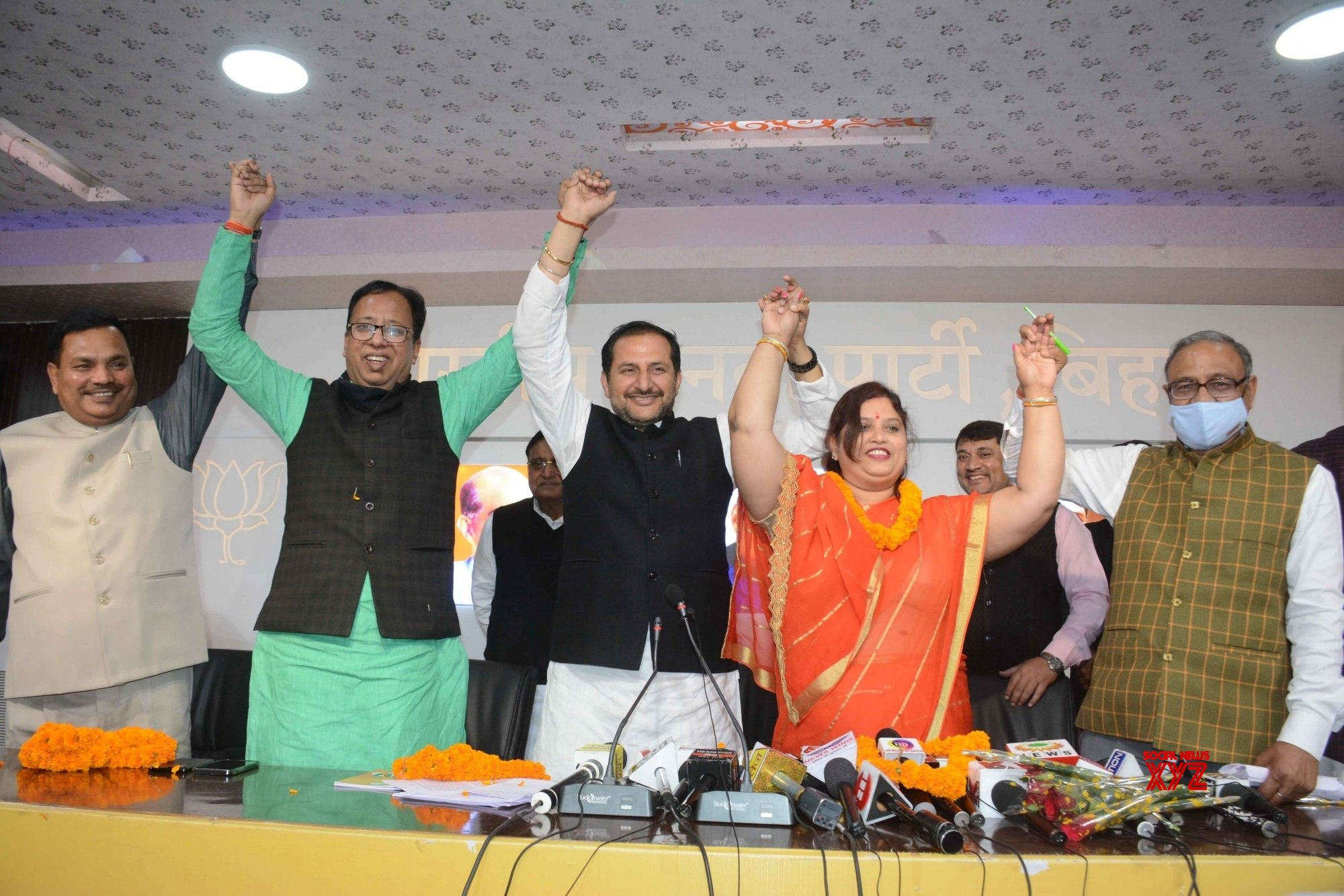 Patna: Lok Janshakti Party MLC Nutan Singh joined hands with BJP state president Sanjay Jaiswal after joining BJP in Patna on - Monday 22nd February, 2021 #Gallery