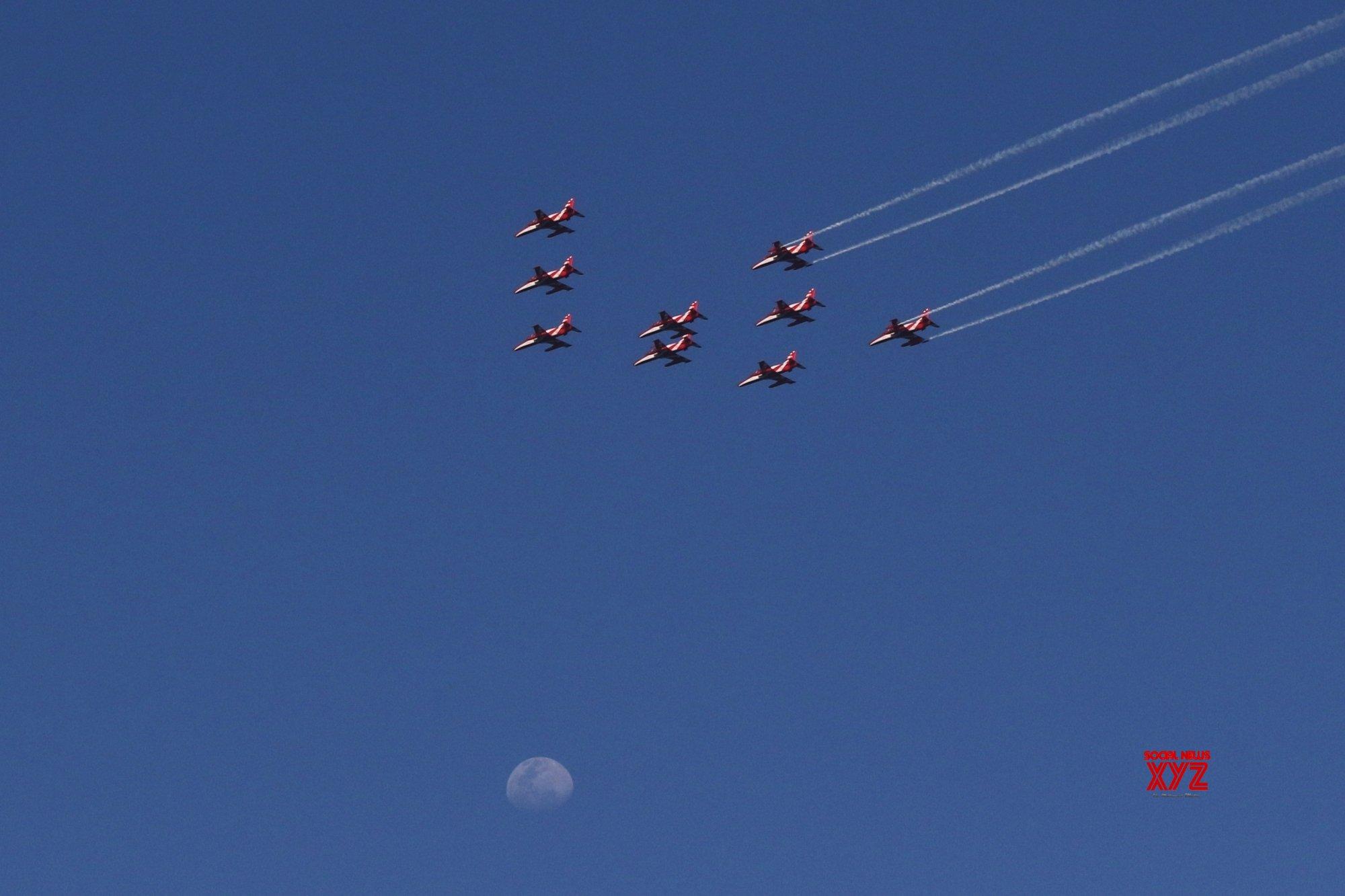 Chennai: Suryakiran Aerobatic Team flypast at Chennai Marina Beach in commemoration of 50years of Indo Pak 1971 war victory on Tuesday 23rd February, 2021. #Gallery