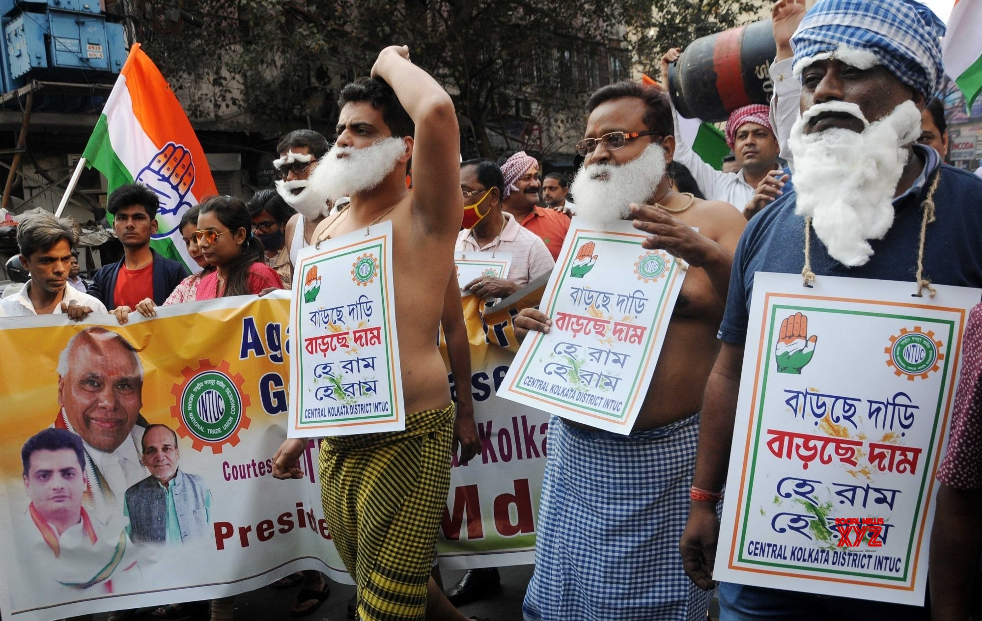 Kolkata: INTUC activists took part in a protest rally against fuel and essential products price hike in Kolkata on Tuesday 23rd February, 2021 #Gallery