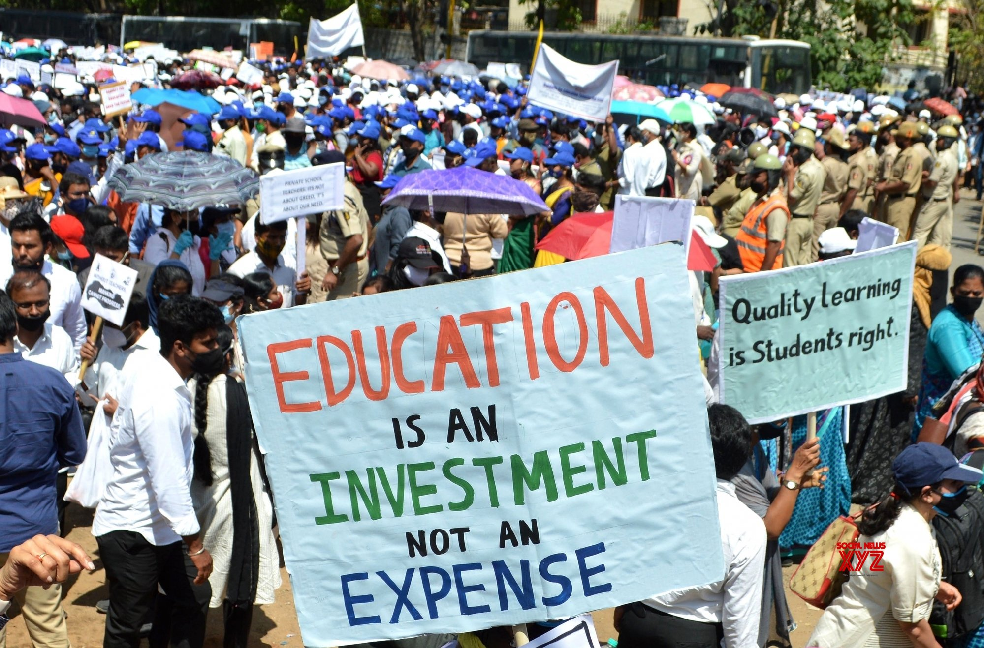 Bengaluru: Members of the Karnataka Private School Managements, Teaching and Non - Teaching Staff Coordination Committee (KPMTCC) take part in a protest rally against the state governments order for private schools to charge only 70% of the tuition fees in this academic year, in Bengaluru, Karnataka on Tuesday 23rd February 2021 #Gallery