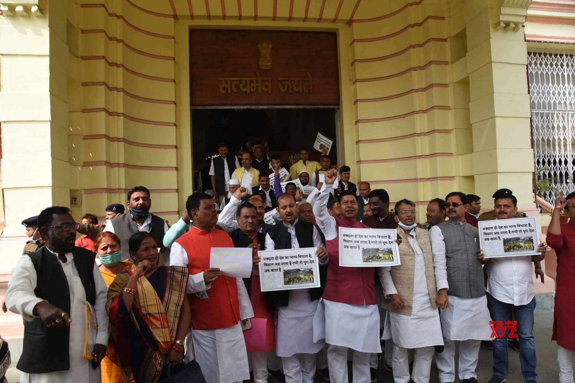 Patna: RJD legislators staged a protest at Bihar Vidhan Sabha #Gallery