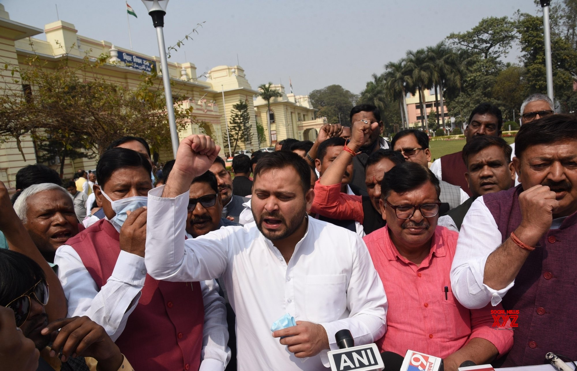 Bihar: RJD leader Tejashwi Yadav with Partys legislator stage protest at the Bihar Assembly during the ongoing budget session, in Patna on Tuesday 23rd, 2021 #Gallery