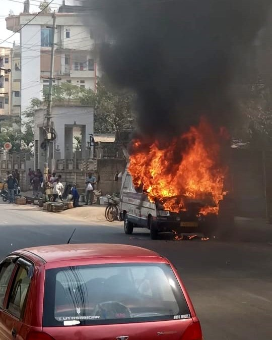 Guwahati : Fire broke out in an ambulance #Gallery