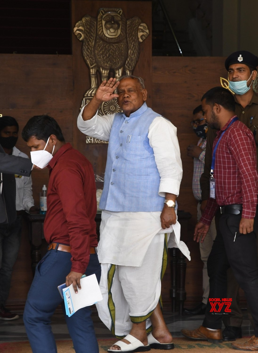 Bihar: HAM - S president Jitan Ram Manjhi arrives during the ongoing Budget Session of Bihar Assembly in Patna on Tuesday 23rd February, 2021 #Gallery