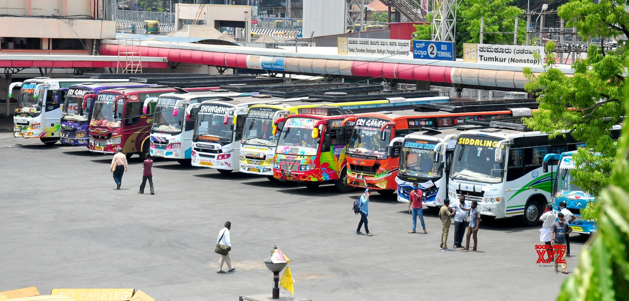 Bengaluru: BMTC busses being parked at Yeshwanthpur bus terminal during the BMTC and KSRTC bus workers indefinite strike in Bengaluru on Thursday 8th April 2021. #Gallery