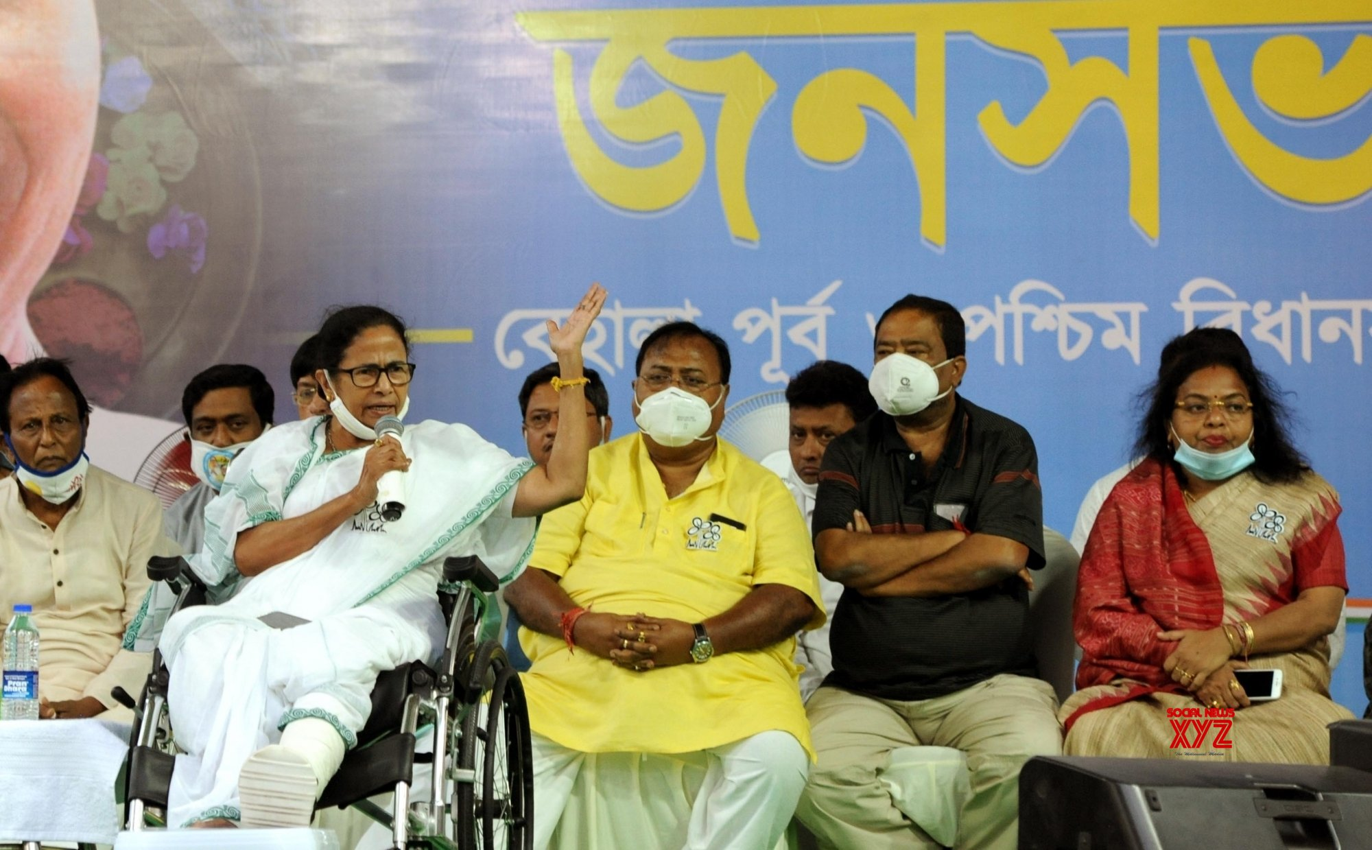Kolkata: West Bengal Chief Minister Mamata Banerjee at a public meeting ahead of the 4th phase of the State Assembly election at Behala in Kolkata on April 8, 2021. #Gallery