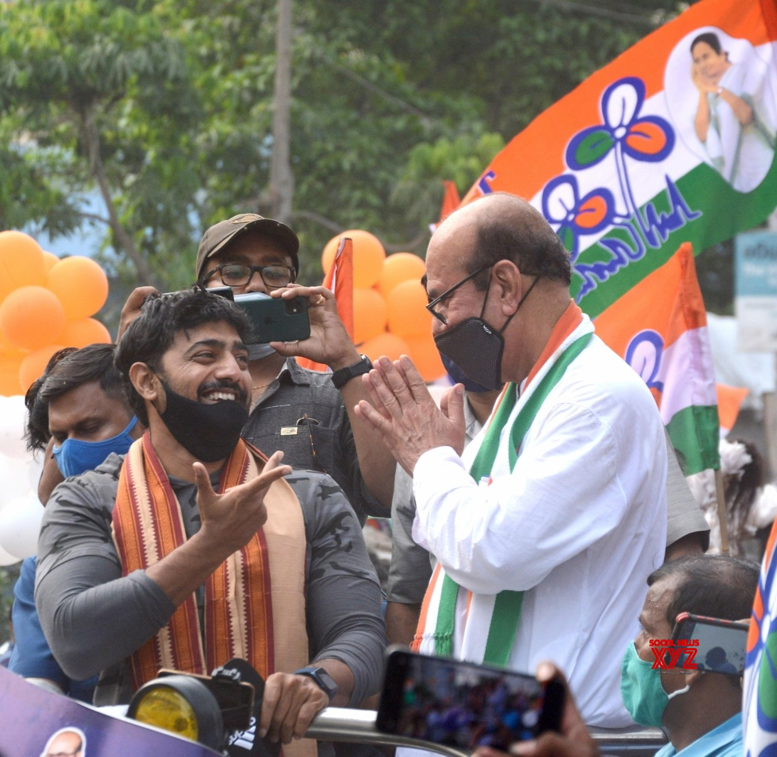Kolkata: TMC M.P Dev at a roadshow along with the party candidate Javed Ahamed Khan, ahead of the 4th phase of State Assembly election in Kolkata. #Gallery