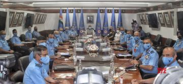 New Delhi: Union Defence minister Rajnath Singh Chairs during the The Indian Air Force Commanders' Conference at Air Headquarters (Vayu Bhawan), Rafi Marg, in New Delhi on Thursday April 15, 2021.(Photo:Wasim Sarvar/IANS)