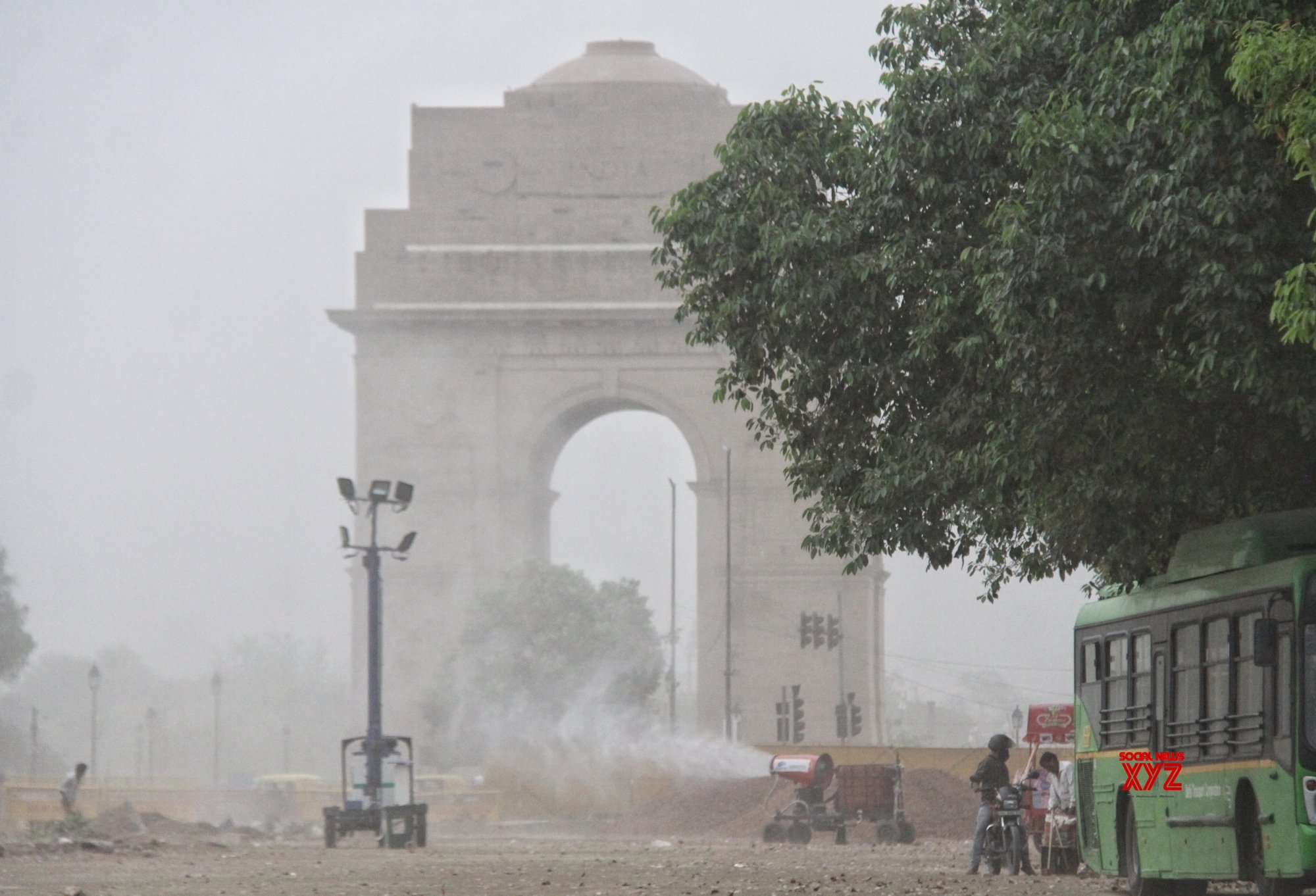 New Delhi: Smog gun spraying during the heavy Storm at India gate in new Delhi #Gallery