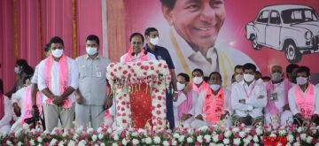 Andhra Pradesh: TRS PRESIDENT AND CHIEF MINISTER K CHANDERSHEKER RAO ADDRESSING BY ELECTION MEETING AT NAGARJUNA SAGAR CONSTITUENCY.(Photo:snapsindia/IANS)
