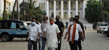 Kolkata: BJP delegation team led by party State President Dilip Ghosh comes out from Raj Bhawan after meet with Governor of West Bengal, Jagdeep Dhankar on post election violence in Kolkata on May 3, 2021(Photo: Kuntal Chakrabarty/IANS)