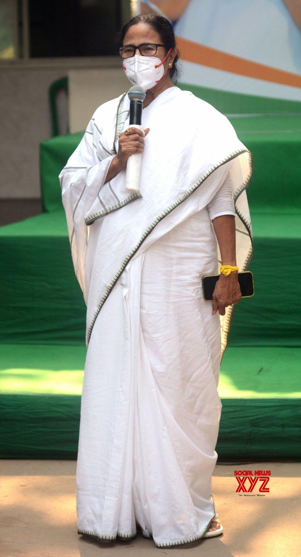 Kolkata : West Bengal Chief Minister and TMC supremo Mamata Banerjee addresses media at her residence in Kolkata on May 3, 2021 #Gallery