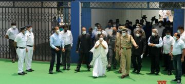 Kolkata: TMC Supremo Mamata Banerjee as the Chief Minister of West Bengal for the third time, received a guard of honour and entered Nabanna in Howrah on May 5, 2021. .(Photo: Kuntal Chakrabarty/IANS)
