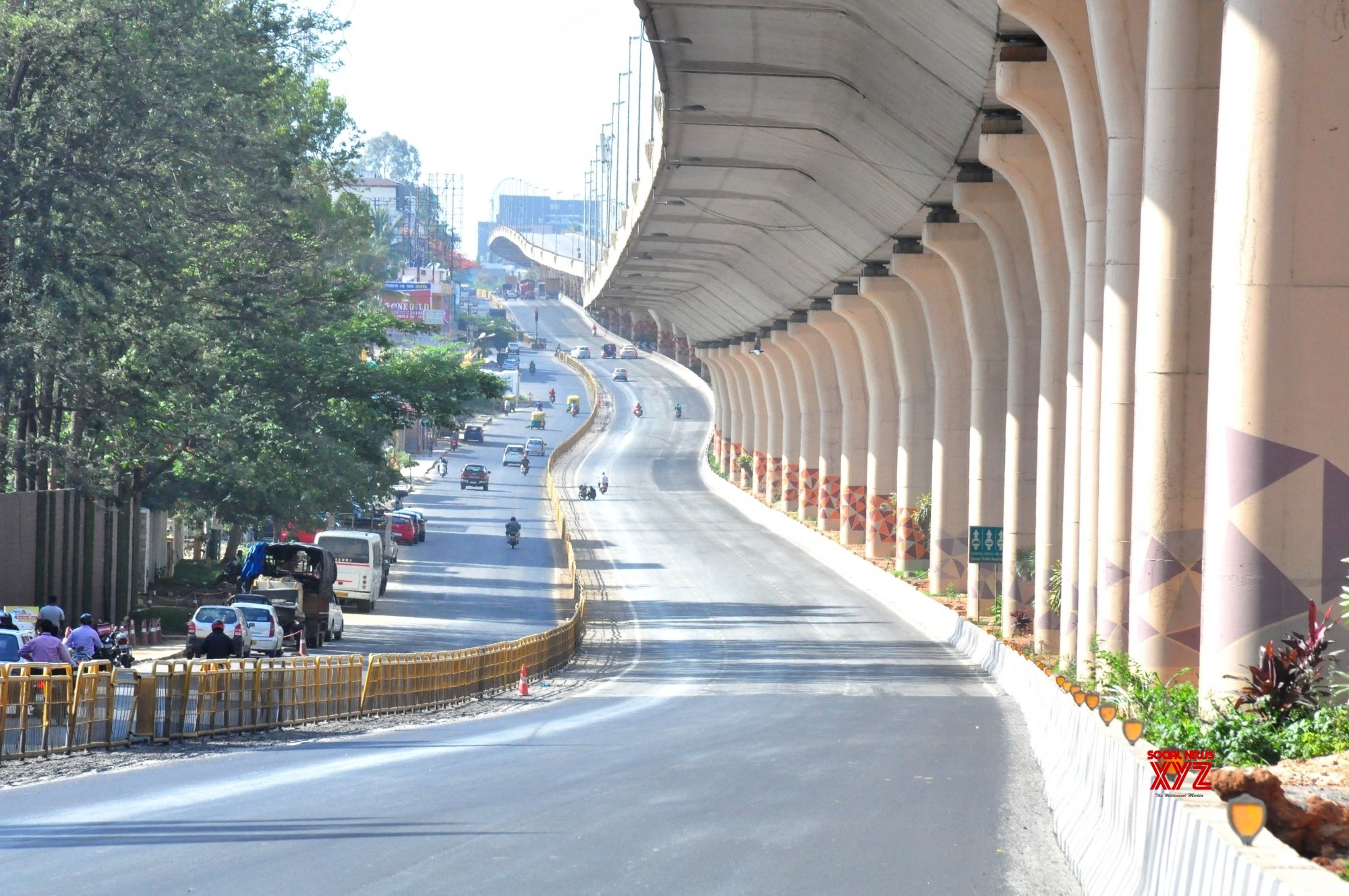 Bengaluru : Deserted look of Bellary road underpass during lockdown in the wake of the 2nd wave of COVID - 19, in Bengaluru. #Gallery