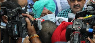New Delhi : Punjab Chief Minister Amrainder Singh meet the party's three member panel formed by Congress Interim President Sonia Gandhi to resolve factionalism in Punjab Congress in New Delhi on Friday 04 June 2021. (Photo: Wasim Sarvar/ IANS)